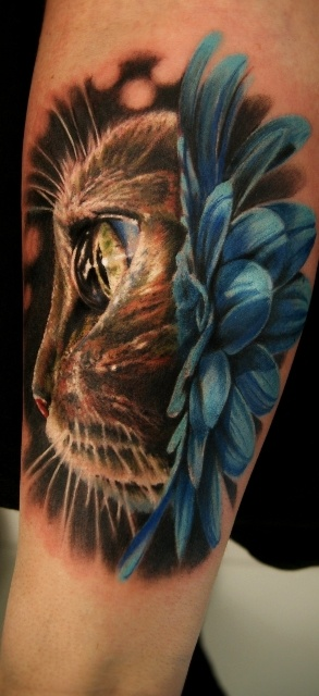 3D cat tattoo