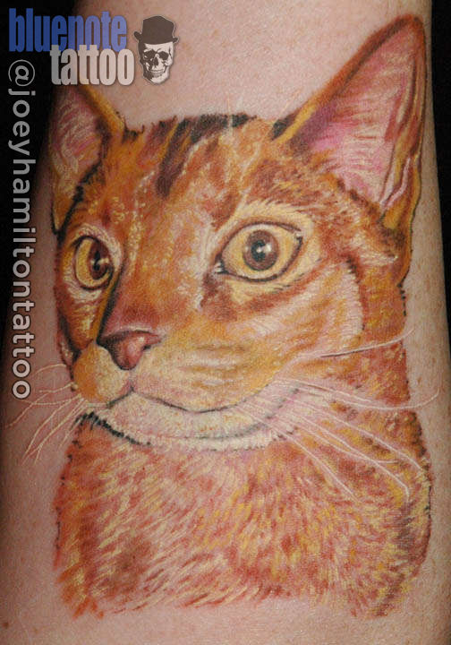 3D happy cat tattoo