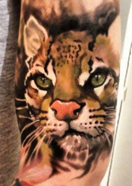 3D painted cat tattoo