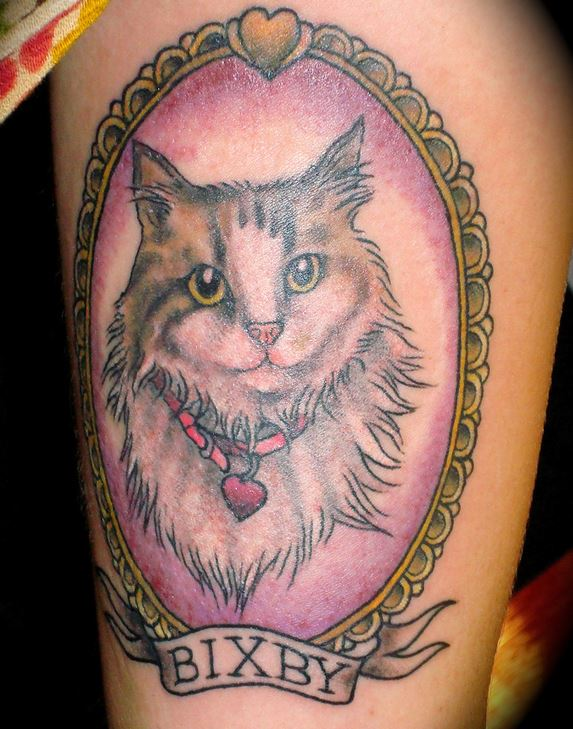 realistic 3D cat tattoo