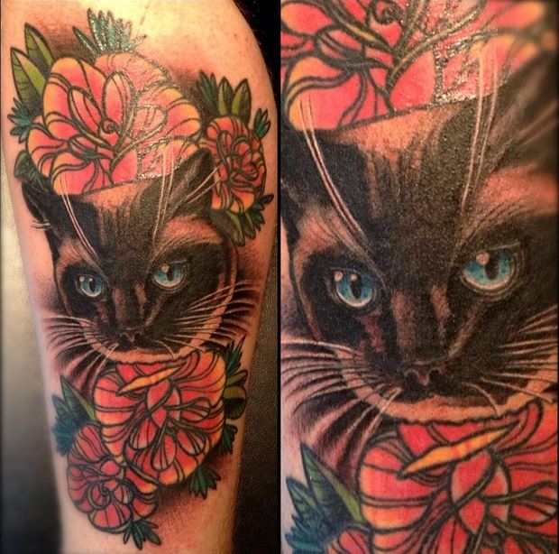 amazing 3d cat tattoo