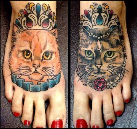 3d foot cat tattoo